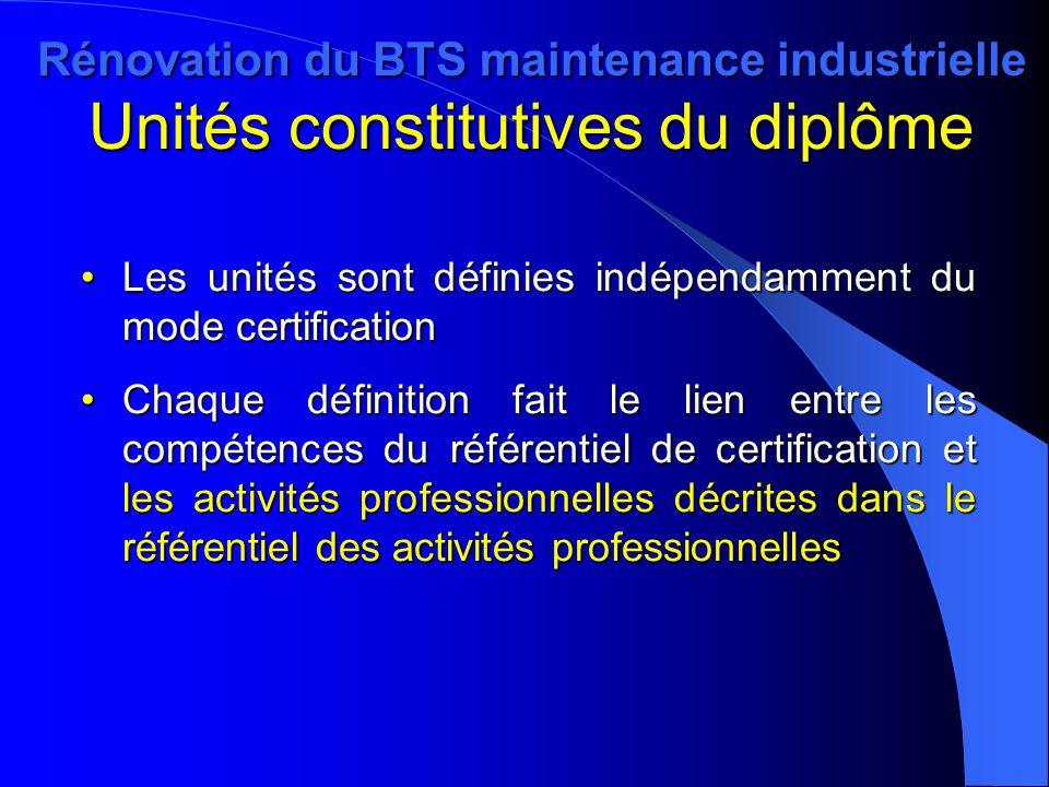 Rénovation du BTS maintenance industrielle Unités constitutives du diplôme