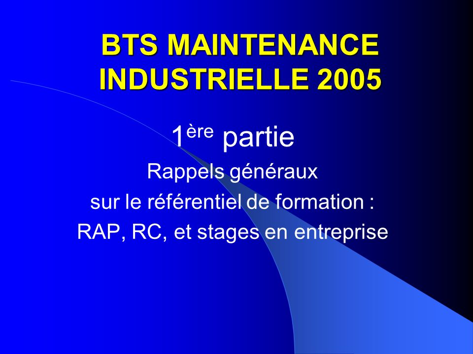 BTS MAINTENANCE INDUSTRIELLE 2005