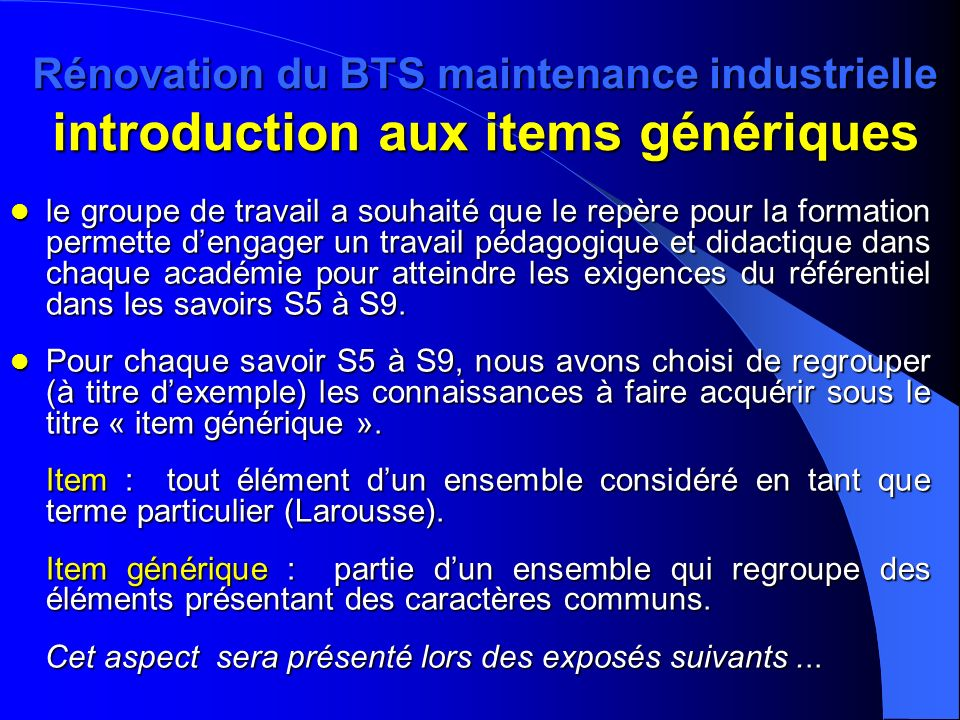 Rénovation du BTS maintenance industrielle introduction aux items génériques