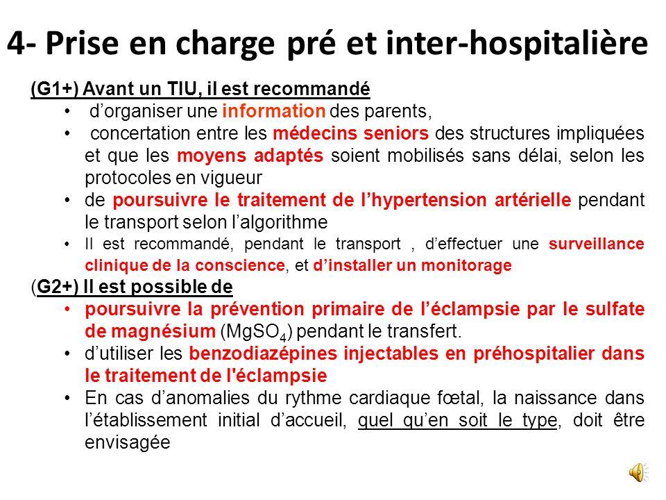 4- Prise en charge pré et inter-hospitalière