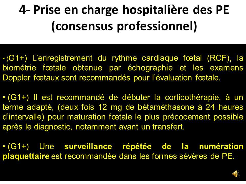 4- Prise en charge hospitalière des PE (consensus professionnel)