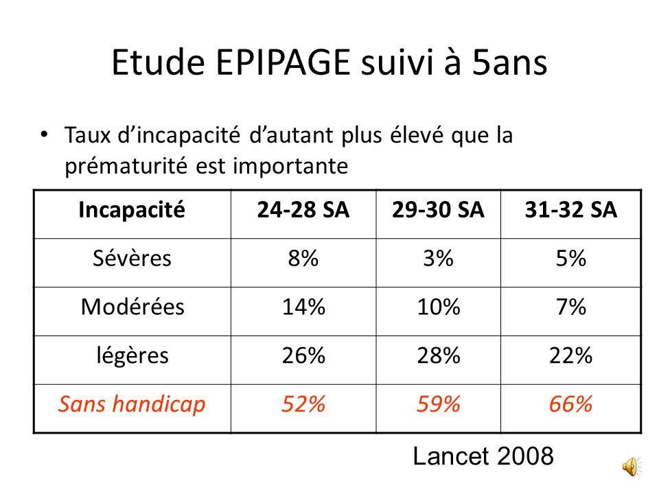 Etude EPIPAGE suivi à 5ans