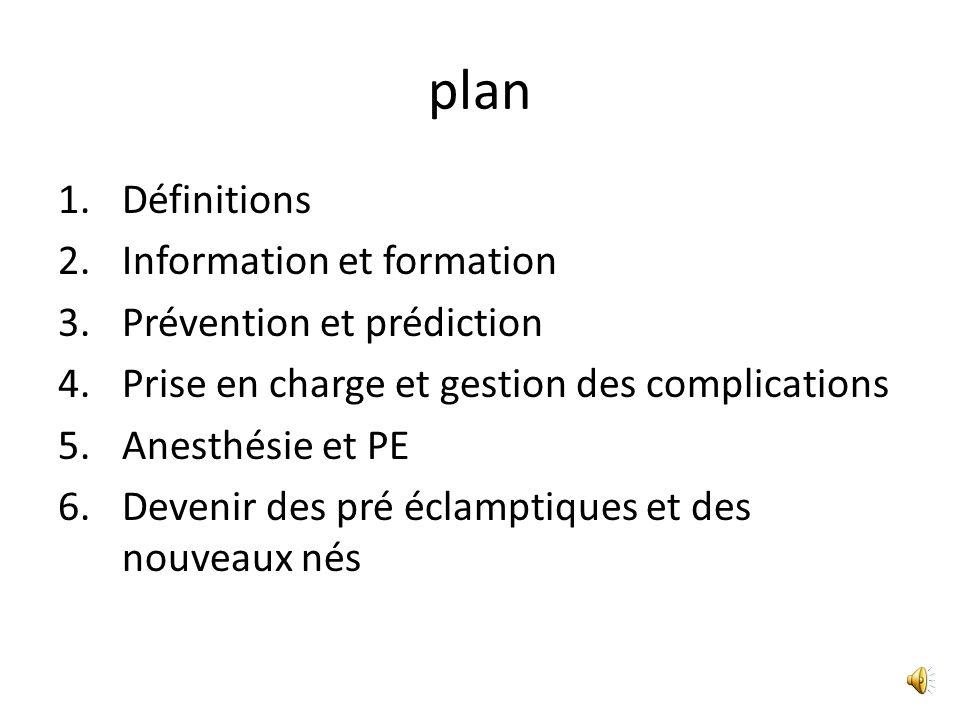 plan Définitions Information et formation Prévention et prédiction