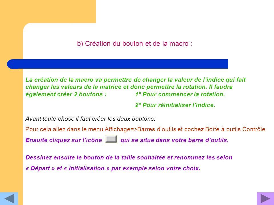 b) Création du bouton et de la macro :