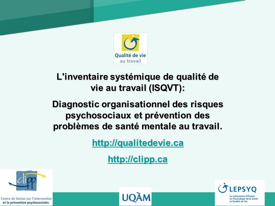 L inventaire systémique de qualité de vie au travail (ISQVT):
