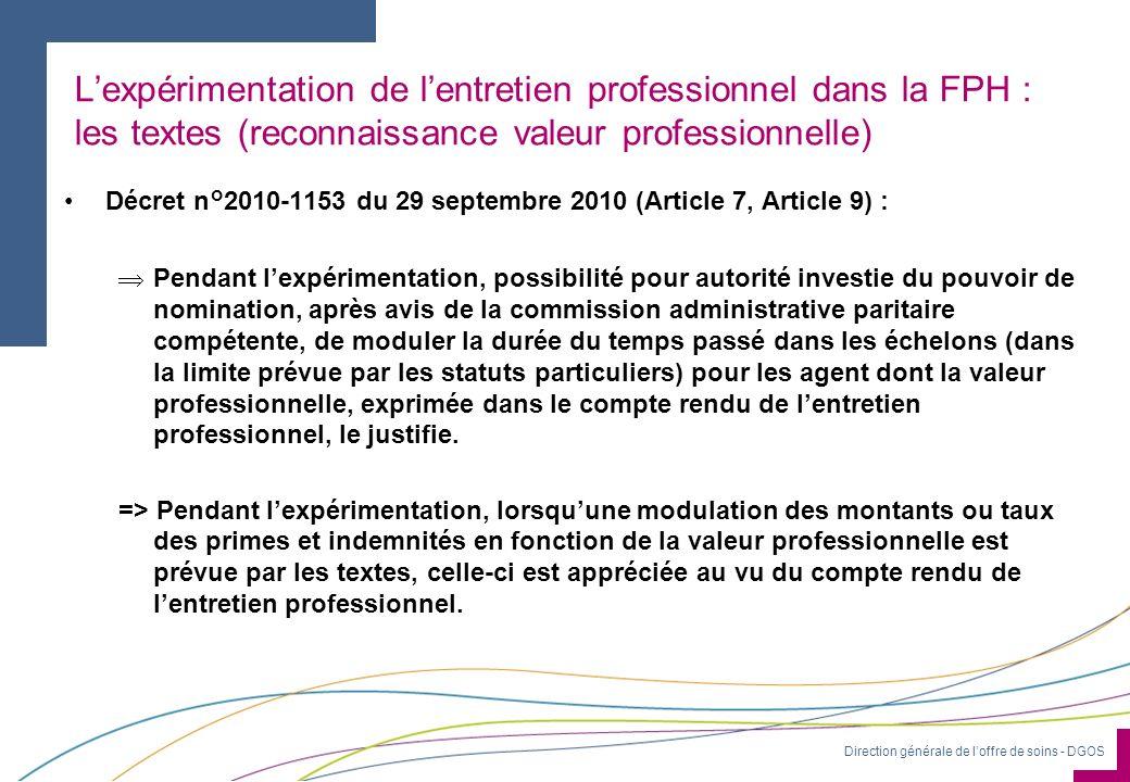 L'expérimentation de l'entretien professionnel dans la FPH : les textes (reconnaissance valeur professionnelle)