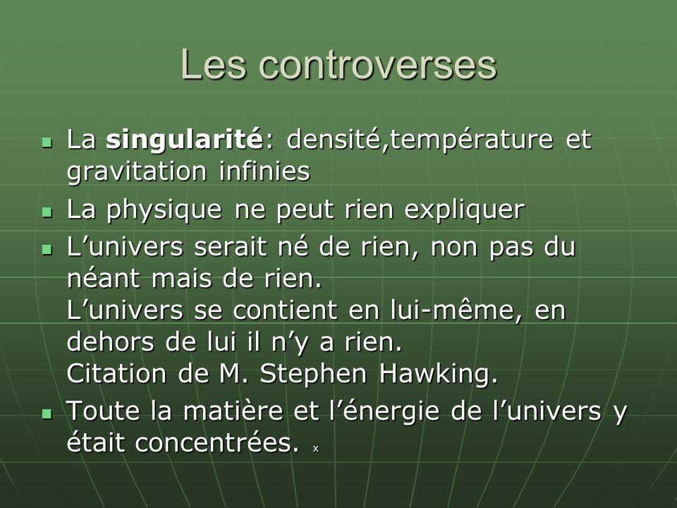 Les controverses La singularité: densité,température et gravitation infinies. La physique ne peut rien expliquer.