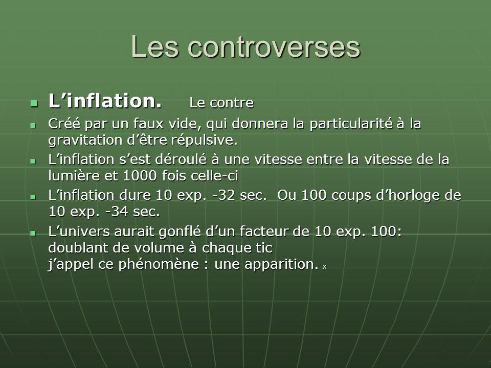 Les controverses L'inflation. Le contre