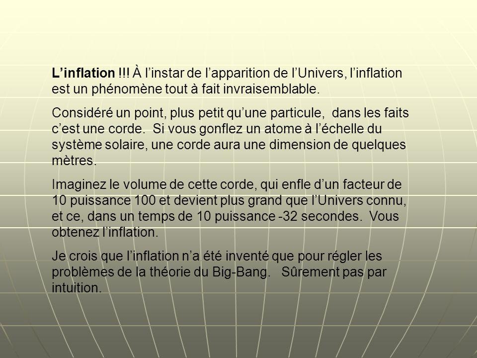 L'inflation !!! À l'instar de l'apparition de l'Univers, l'inflation est un phénomène tout à fait invraisemblable.