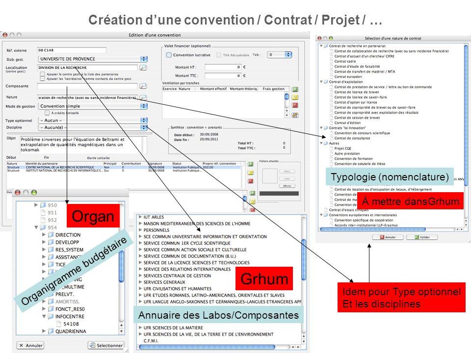 Création d'une convention / Contrat / Projet / …
