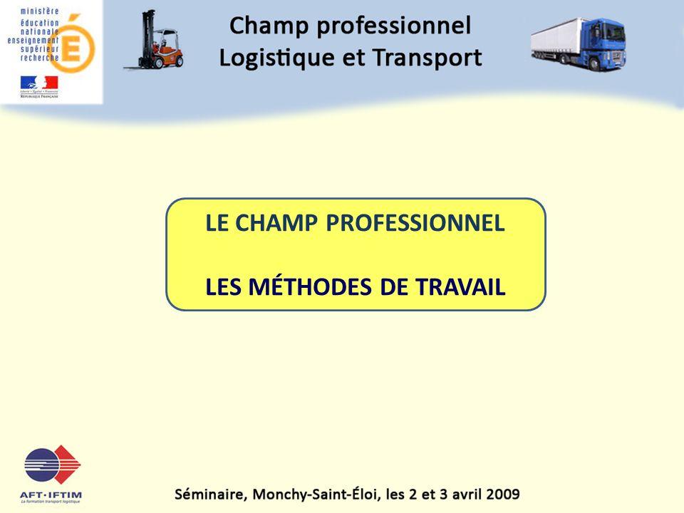 LE CHAMP PROFESSIONNEL LES MÉTHODES DE TRAVAIL