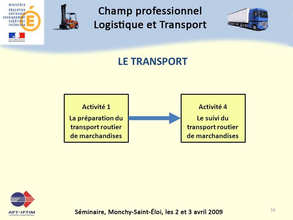 LE TRANSPORT Activité 1. La préparation du transport routier de marchandises.