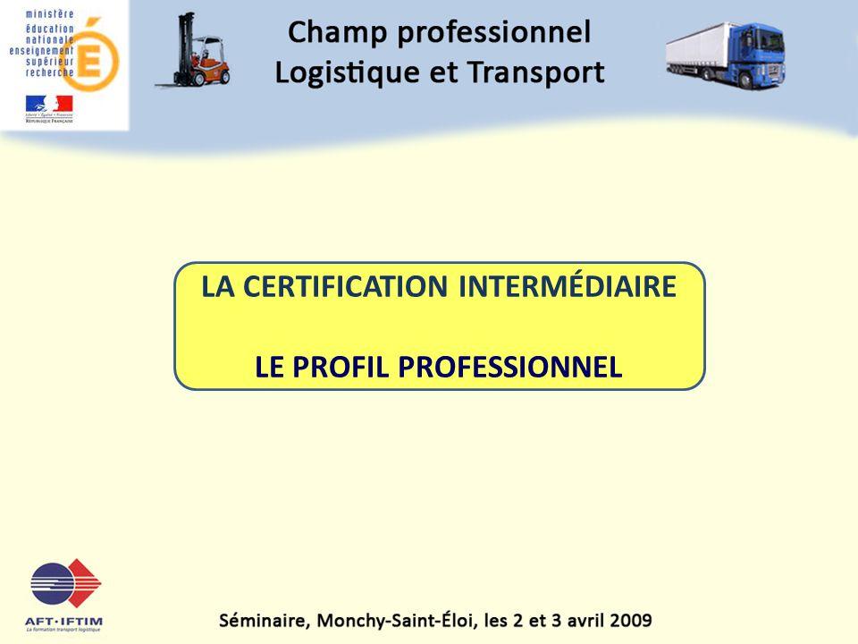 LA CERTIFICATION INTERMÉDIAIRE LE PROFIL PROFESSIONNEL