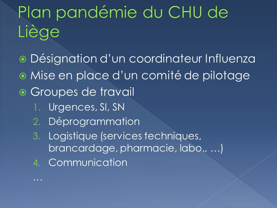 Plan pandémie du CHU de Liège