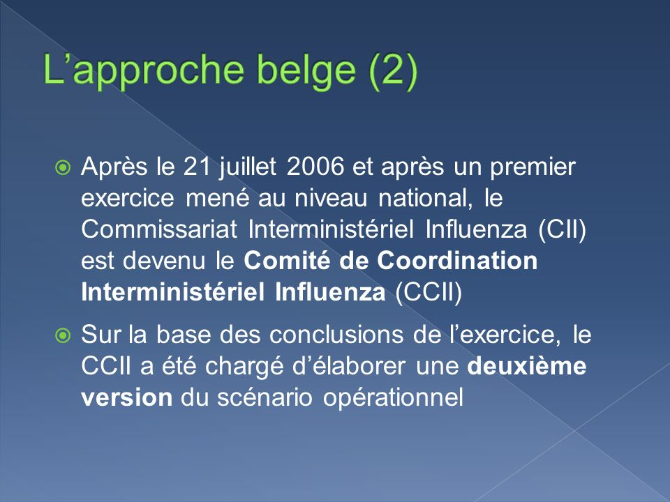 L'approche belge (2)