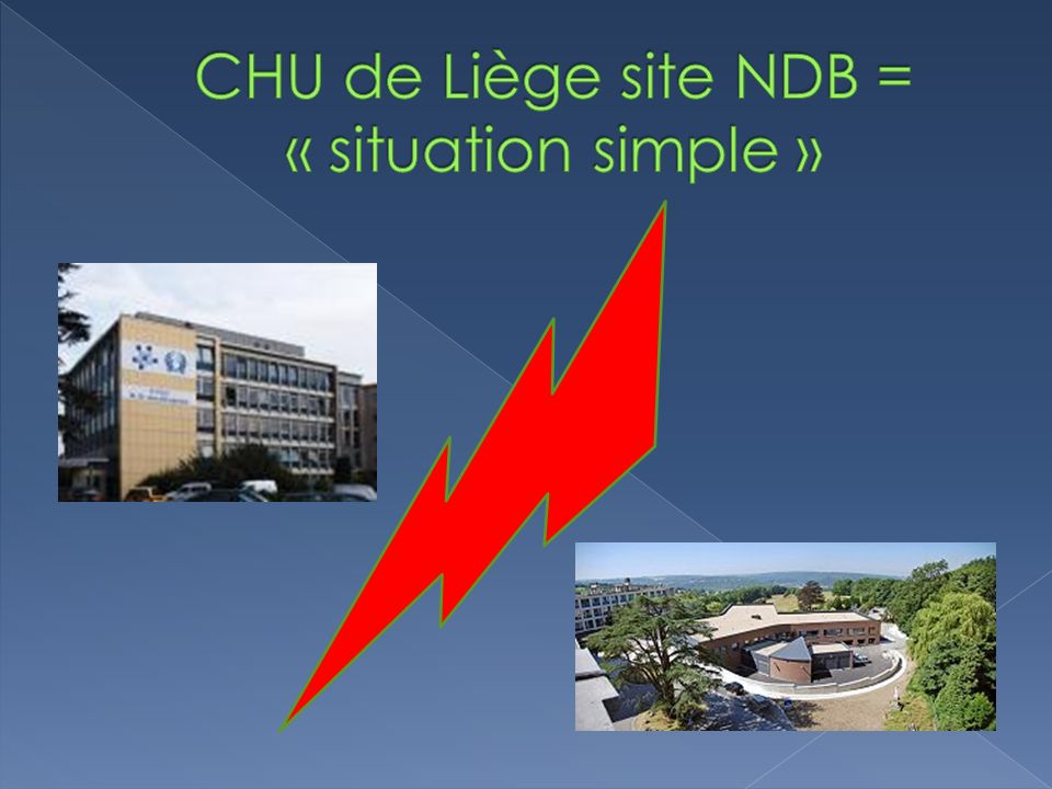 CHU de Liège site NDB = « situation simple »