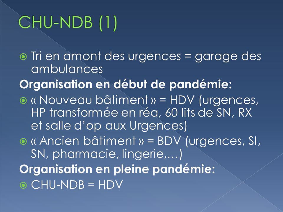 CHU-NDB (1) Tri en amont des urgences = garage des ambulances