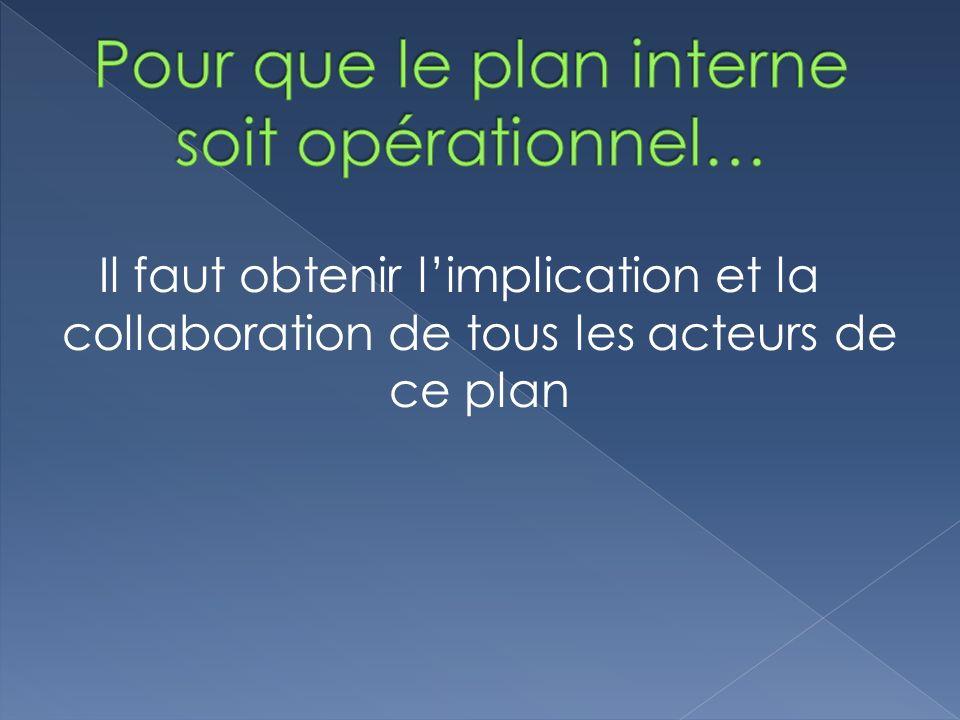 Pour que le plan interne soit opérationnel…