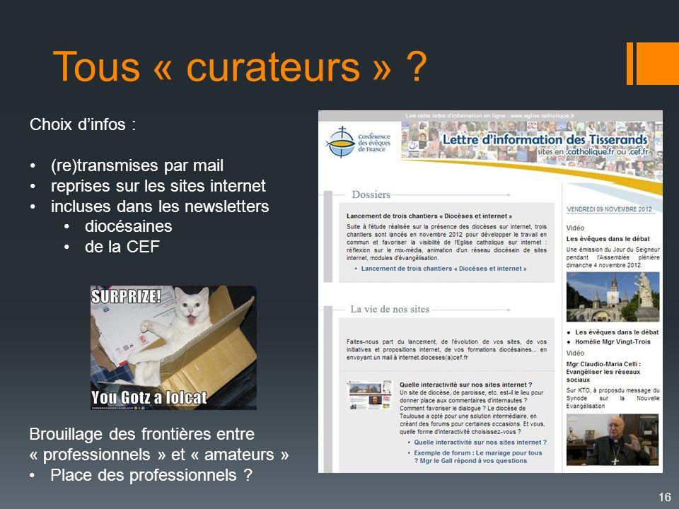 Tous « curateurs » Choix d'infos : (re)transmises par mail