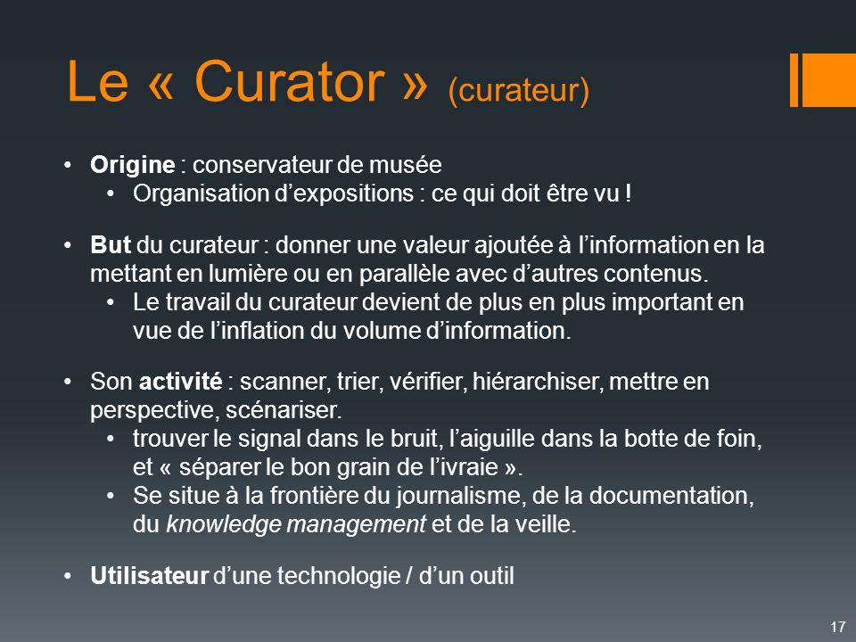 Le « Curator » (curateur)