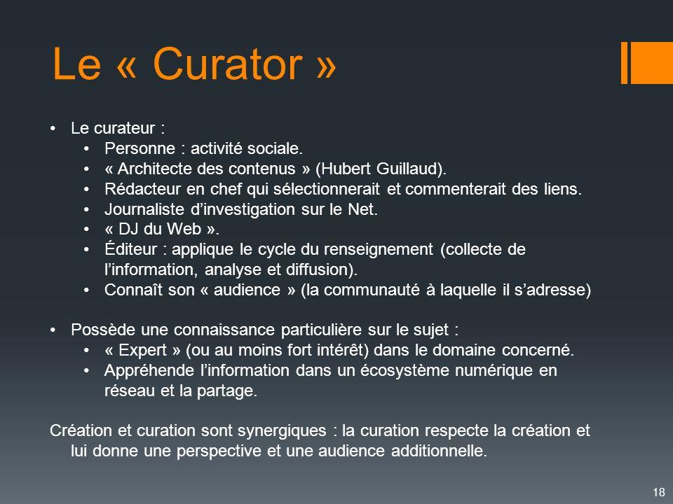 Le « Curator » Le curateur : Personne : activité sociale.