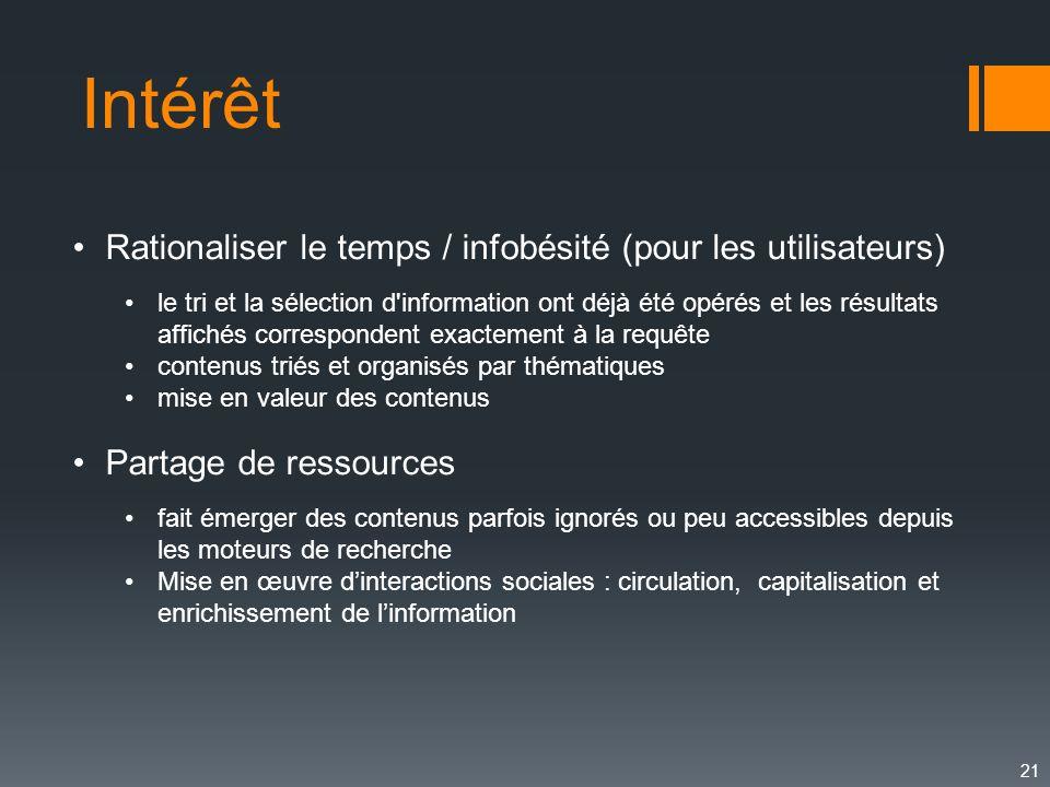 Intérêt Rationaliser le temps / infobésité (pour les utilisateurs)