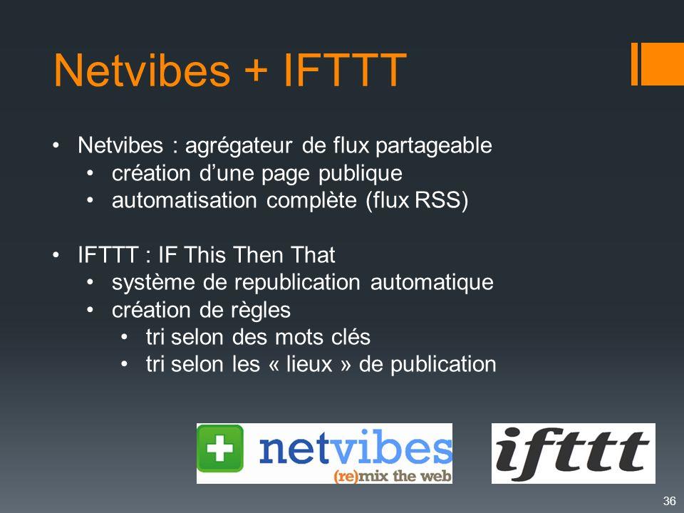 Netvibes + IFTTT Netvibes : agrégateur de flux partageable