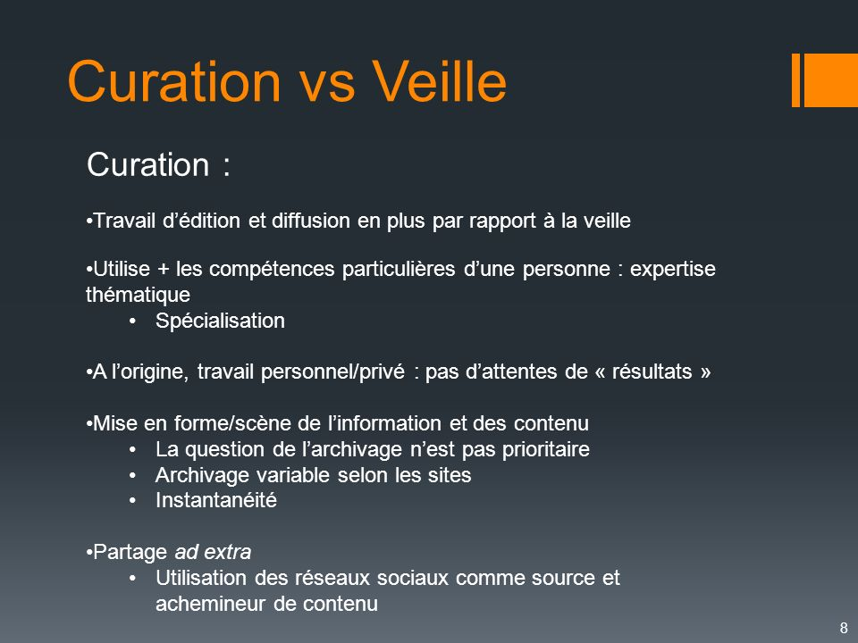 Curation vs Veille Curation :