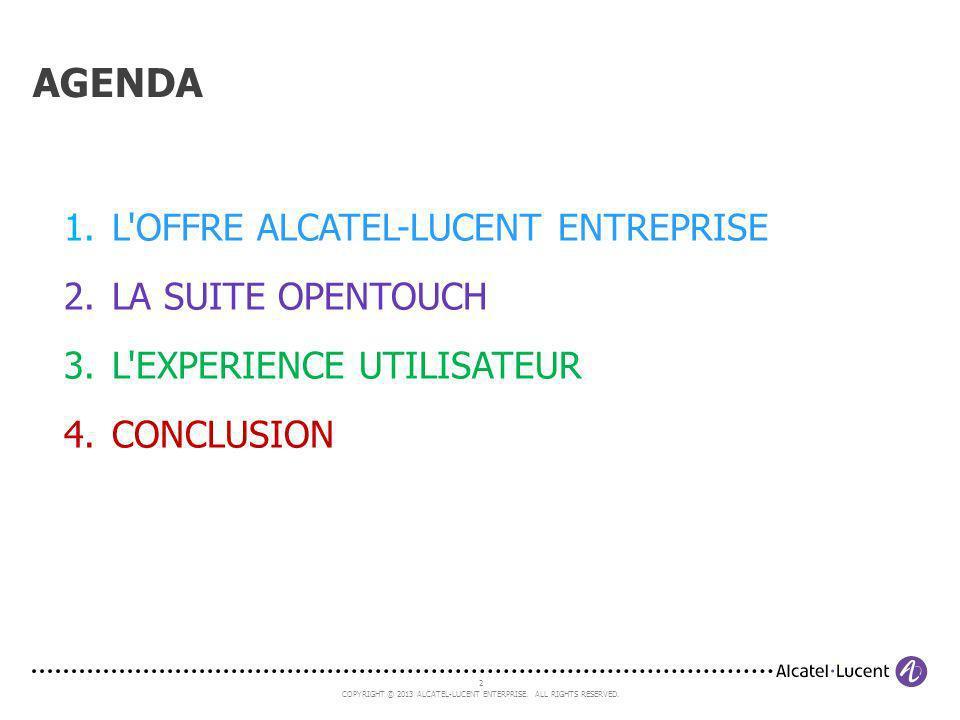 AGENDA L OFFRE ALCATEL-LUCENT ENTREPRISE LA SUITE OPENTOUCH