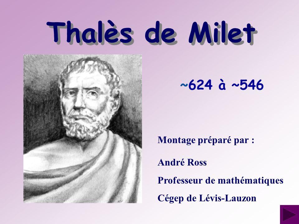 Thalès de Milet ~624 à ~546 Montage préparé par : André Ross
