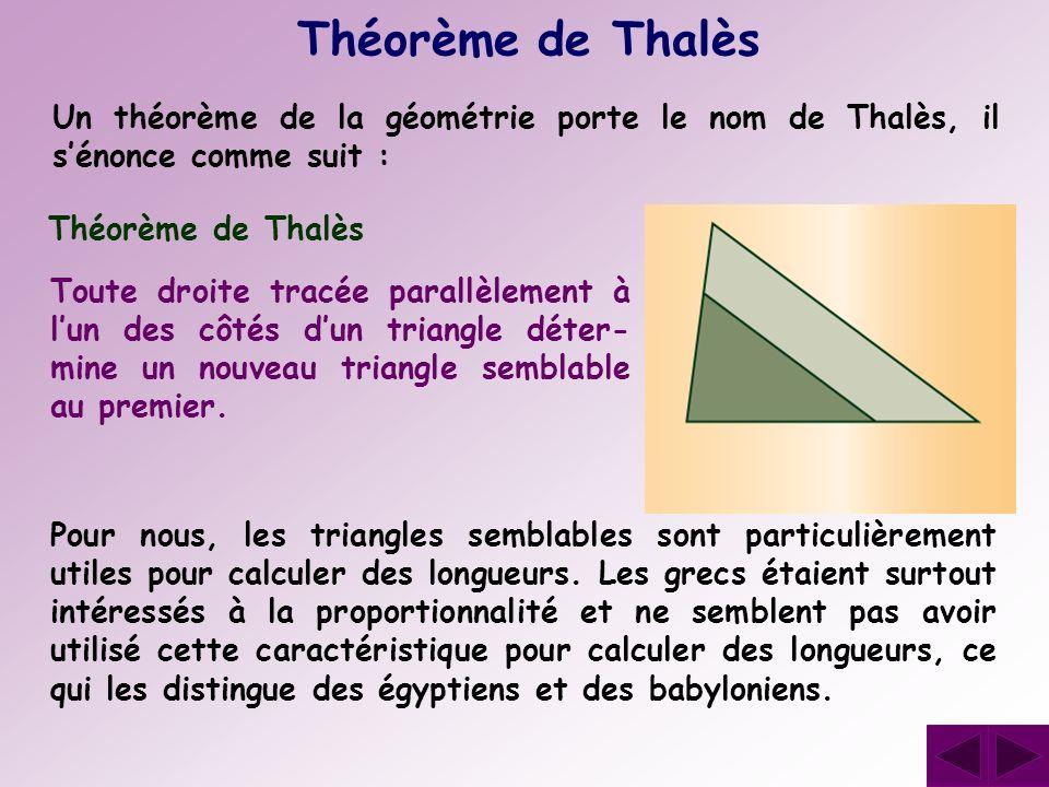 Théorème de ThalèsUn théorème de la géométrie porte le nom de Thalès, il s'énonce comme suit : Théorème de Thalès.