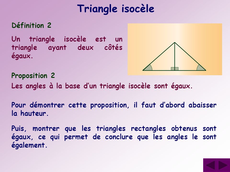 Triangle isocèle Définition 2