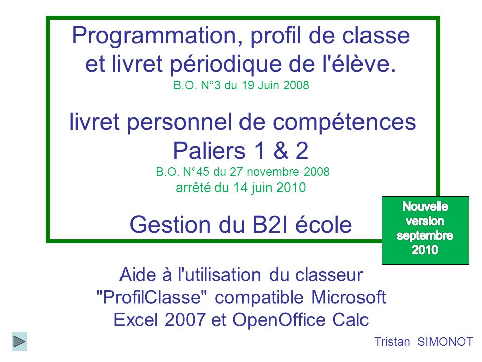 Nouvelle version septembre 2010
