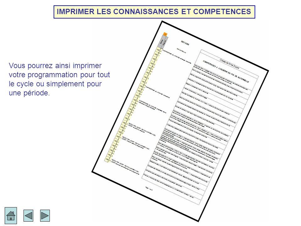 IMPRIMER LES CONNAISSANCES ET COMPETENCES