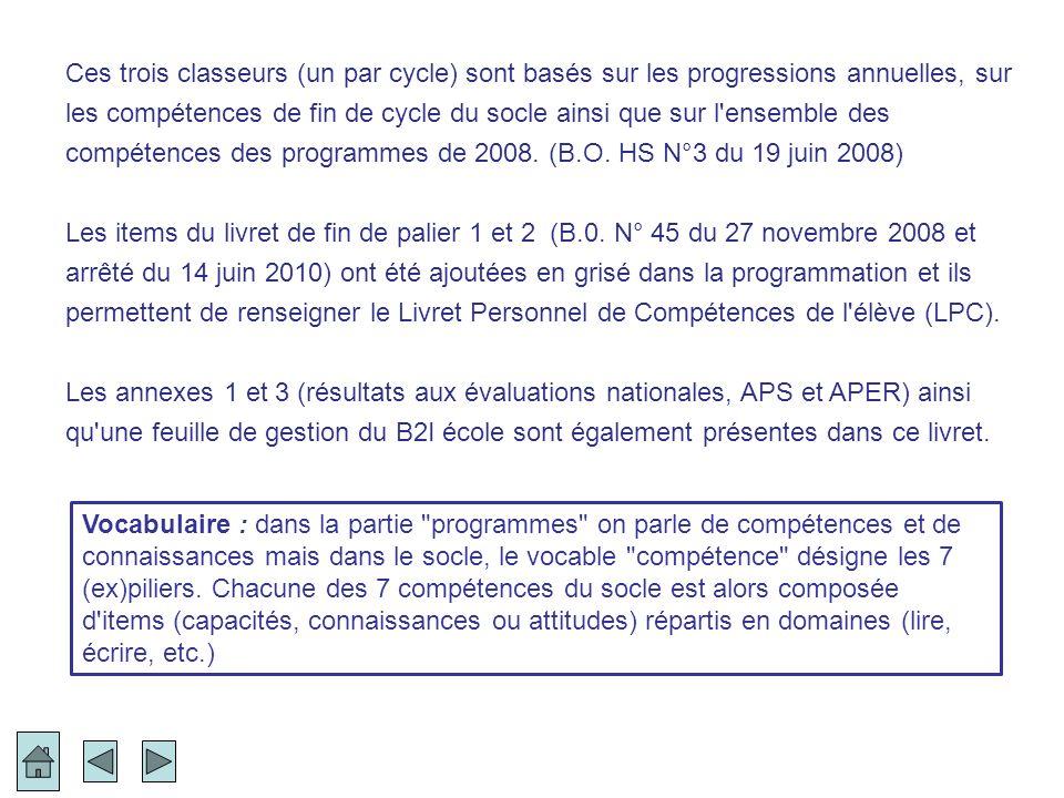Ces trois classeurs (un par cycle) sont basés sur les progressions annuelles, sur les compétences de fin de cycle du socle ainsi que sur l ensemble des compétences des programmes de 2008. (B.O. HS N°3 du 19 juin 2008)