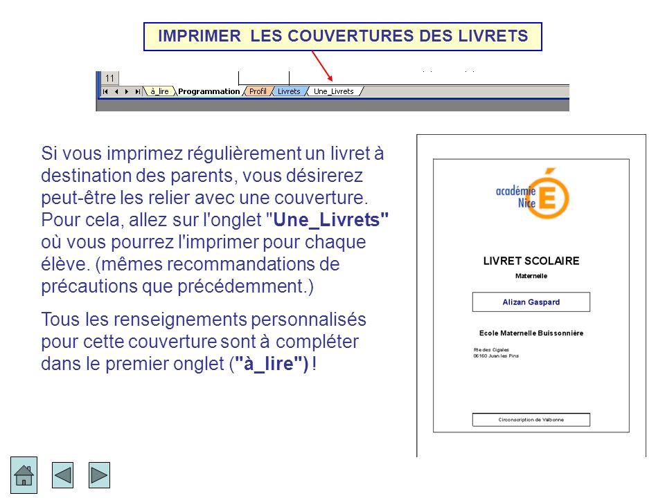 IMPRIMER LES COUVERTURES DES LIVRETS