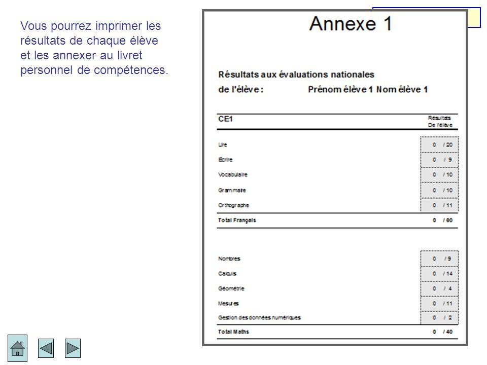 Annexe 1 Vous pourrez imprimer les résultats de chaque élève.
