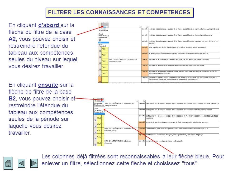 FILTRER LES CONNAISSANCES ET COMPETENCES