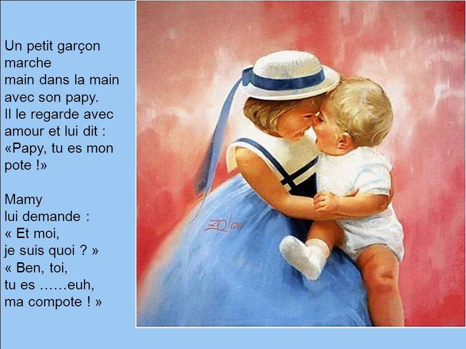 Un petit garçon marche main dans la main avec son papy. Il le regarde avec amour et lui dit : «Papy, tu es mon pote !»