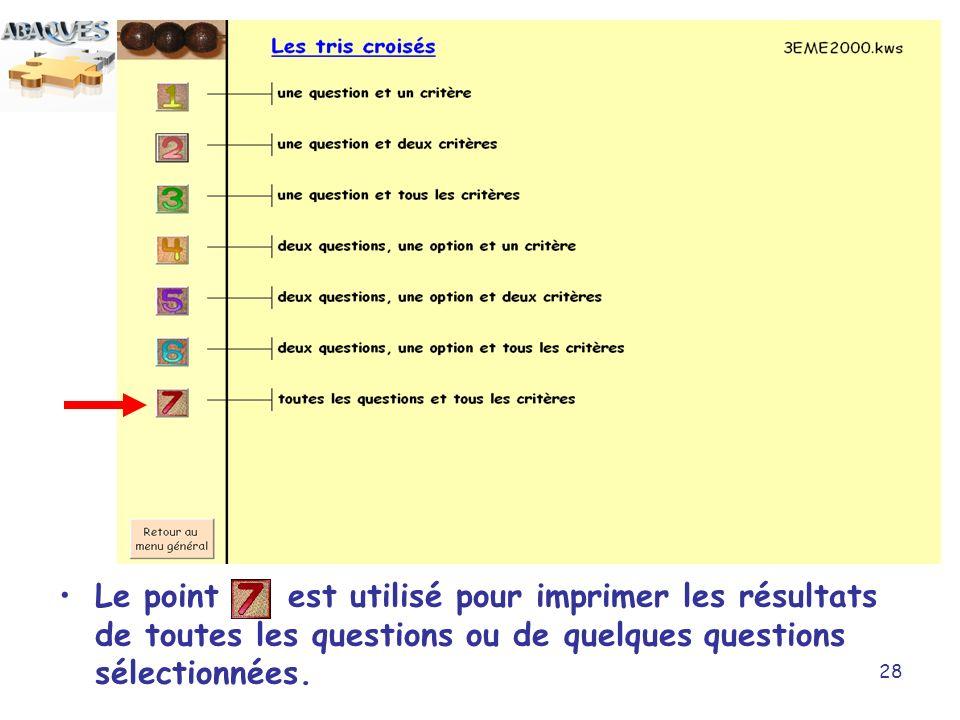 Le point est utilisé pour imprimer les résultats de toutes les questions ou de quelques questions sélectionnées.