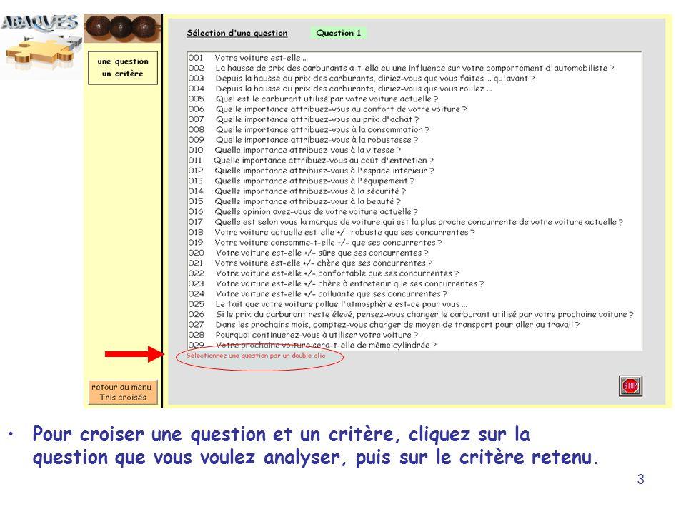 Pour croiser une question et un critère, cliquez sur la question que vous voulez analyser, puis sur le critère retenu.