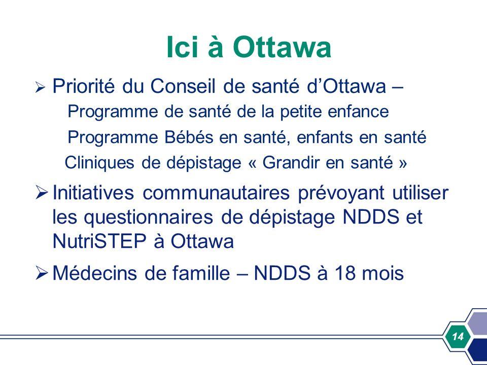 Ici à Ottawa Priorité du Conseil de santé d'Ottawa – Programme de santé de la petite enfance. Programme Bébés en santé, enfants en santé.