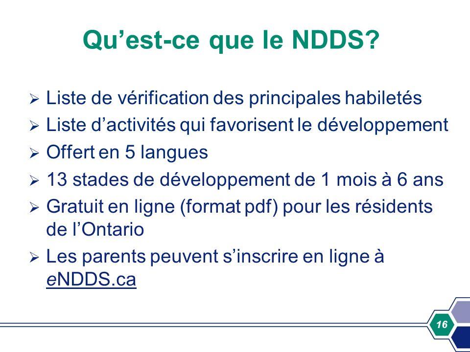 Qu'est-ce que le NDDS Liste de vérification des principales habiletés