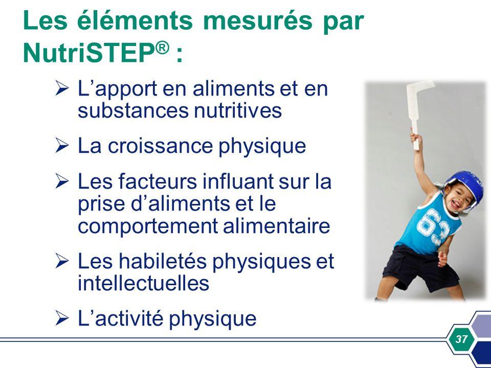 Les éléments mesurés par NutriSTEP® :