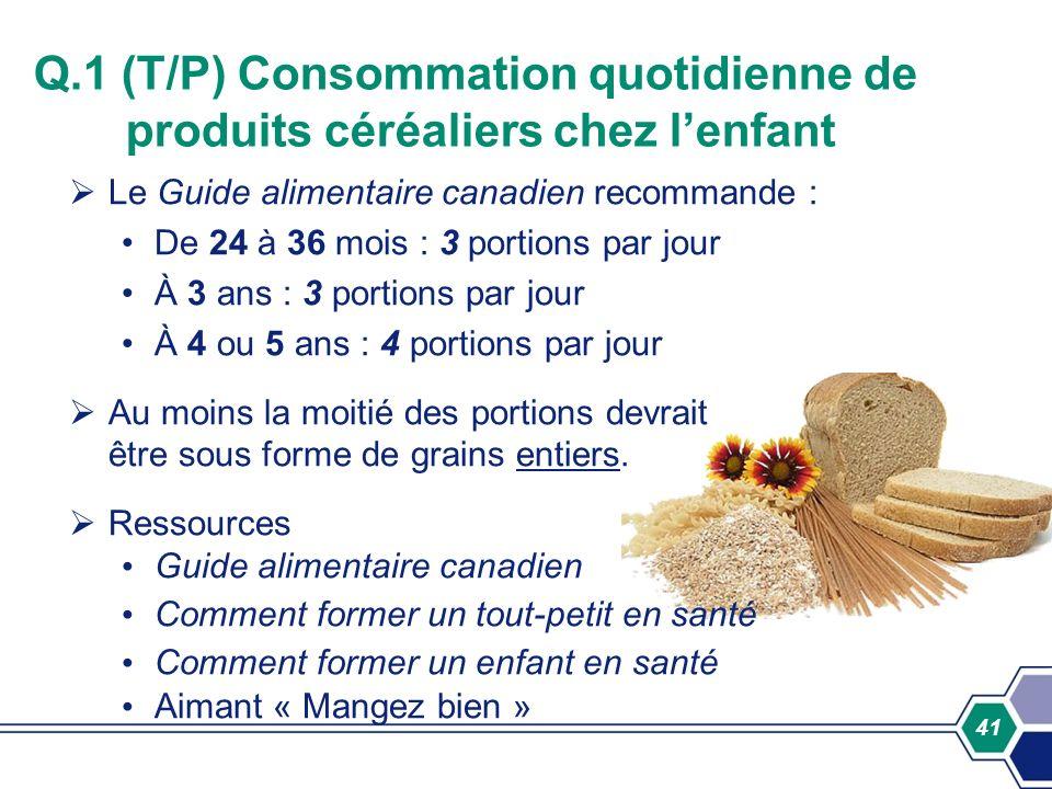 Q.1 (T/P) Consommation quotidienne de produits céréaliers chez l'enfant