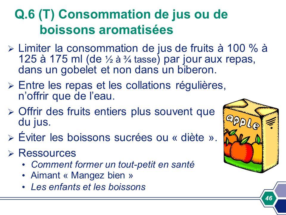 Q.6 (T) Consommation de jus ou de boissons aromatisées
