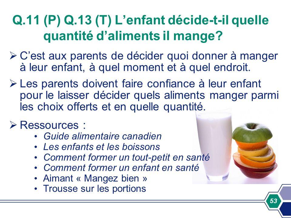 Q.11 (P) Q.13 (T) L'enfant décide-t-il quelle quantité d'aliments il mange