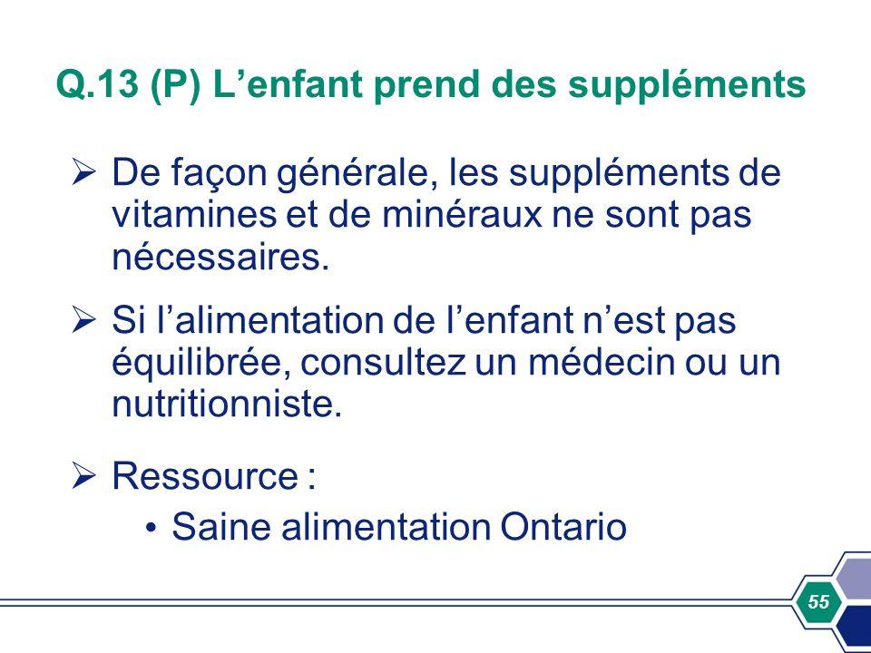 Q.13 (P) L'enfant prend des suppléments