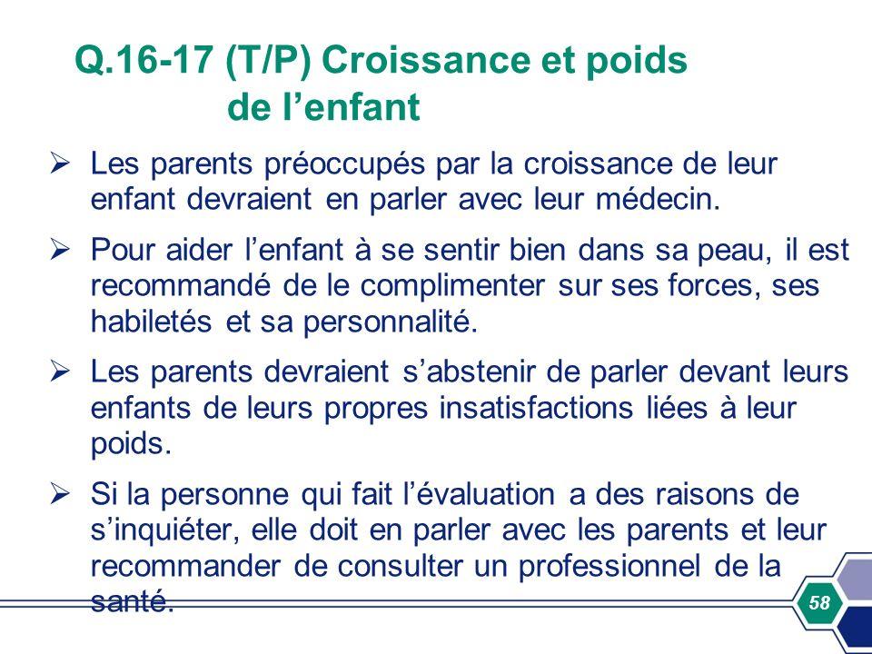 Q.16-17 (T/P) Croissance et poids de l'enfant