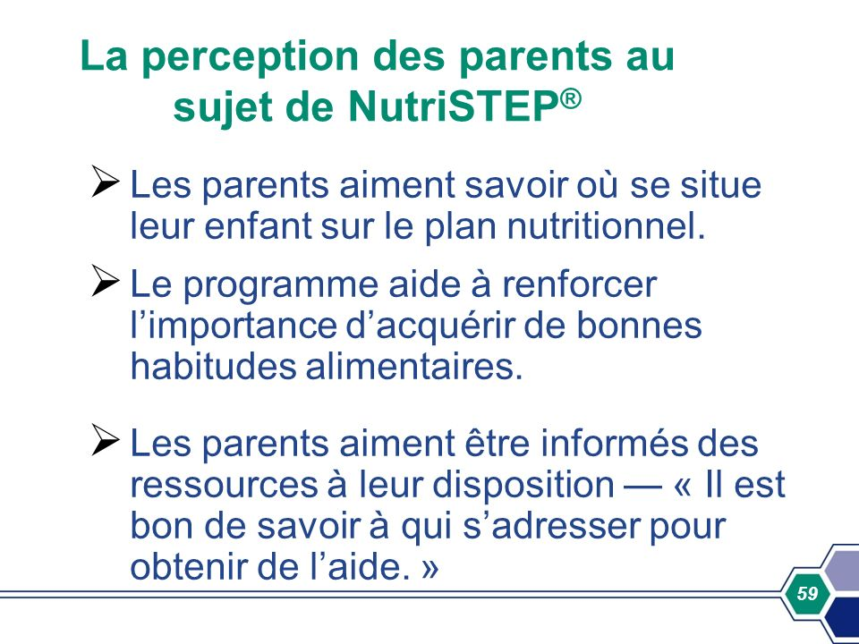 La perception des parents au sujet de NutriSTEP®